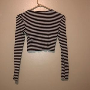 Forever 21 Tops - striped long sleeve crop top